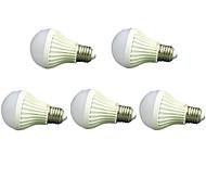 sonido blanco fresco 5pcs 7W E27 2835smd& Lámpara de control de la luz de bulbos llevada inteligentes (220-240V)