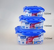 YOOYEE Brand BPA Free Stackable Plastic Food Storage Containers Square 3pcs/Set