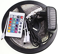 5M 16.4ft Waterproof RGB 300x5630 SMD LED  Flexible LED Light Strips +24 Key IR 12V 2A Power Supply AC100-240V