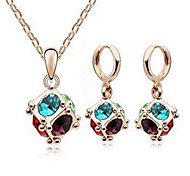 May Polly Austria crystal happy cube Chain Earrings Set