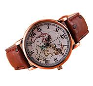 mapa da moda teste padrão de couro de quartzo ocasional pulseira de relógio das mulheres