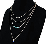 May Polly  European and American fashion long Turquoise Pendant Chain clavicle