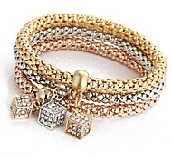 Fashionable Diamond Block Charm Alloy Bracelets 1set