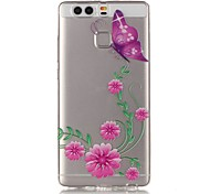 Pink Butterfly 3D Relief Feeling Super Soft Pack Transparent TPU Phone Case for Huawei P9
