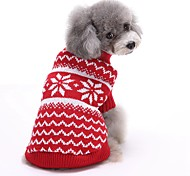 Cat / Dog Sweater Red / Blue Dog Clothes Winter / Spring/Fall Stripe Cute / Christmas / New Year's
