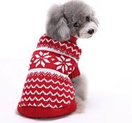 Коты Собаки Свитера Одежда для собак Зима Весна/осень Полоски Милые Рождество Новый год Красный Синий