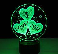 акрил 7 изменение цвета USB зарядка 3d сердце я тебя люблю водить ночи свет с 3d светящийся декора Настольная лампа ночника