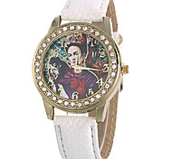 Women's Fashion Quartz Casual Watch PU Belt Diamond Alloy Beatiful People Pattern Dial Watch Cool Watch Unique Watch