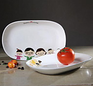 10.5 -Inch Egg-Shaped Ceramic Children Plate (Random Style)