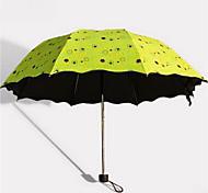 Floral Wicker Sunny Umbrella Three Folding Umbrellas Uv Sun Umbrella Outdoor Umbrella Black