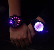 Men's Fashion Big Dial LED Backlight Rubber Wrist Quartz Watch