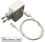 Certificado CE eu pared recorrido cargador 1a / 2.4a doble salida + IMF manzana cable certificado rayo para el iphone 6 ipad iPod