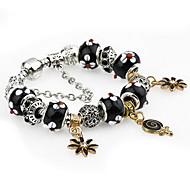 Retro Silver Black DIY Bead Strand Charm Bracelet with Flower Pendant