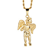 kalen®lucky 316l 18k en acier inoxydable ailes d'or d'ange bijoux de mode collier longue chaîne COLLIER hommes