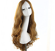 Fashion Women Cute Lady Wig 70cm/28inches Synthetic Wigs Hair Mixed Beige Synthetic Hair Long Wig Light Brown
