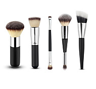 New Professional 5pcs Black/Silver Foundation Blush Liquid Kabuki Brush Makeup Brushes Tools Set Beauty Cosmetics