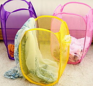 Folding Storage Basket  Folding Mesh Laundry Basket(Random Colors)