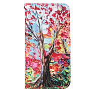 Red Tree Leather Wallet for Samsung Galaxy A5 A7 A3(2016) A5(2016) A7(2016)