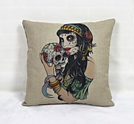 Beauty Skull Square Linen  Decorative Throw Pillow Case Cushion Cover