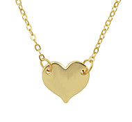 Gold Silver Color Metal Heart Pendant Necklace