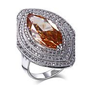 Women 5 Color Rings Quality Cubic Zirconia Prong Setting Horse Eye Ladies Bridal Wedding Ring Platinum Plated