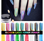 Top Quality 1g/Box Rainbow Shinning Mirror Nail Glitter Powder Perfect Holographic Nails Dust Laser Holo Nails Pigment