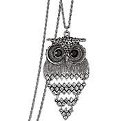 Retro Diamond Hollow Owl Pendant NecklaceImitation Diamond Birthstone