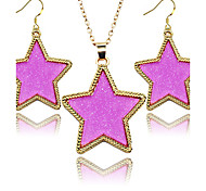 2016 New Fashion Jewelry Sets Golden Frame Pentagram Star Shiny Fluorescent 2 pcs Women Jewelry Sets