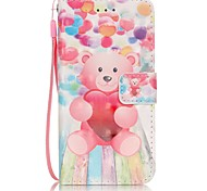 High Quality  Love The Bear Coloured Drawing or Pattern Leather Phone Sets Stent Hand Rope For iPhone 6 6s Plus