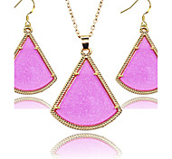 2016 Fashion jewelry set for Women Jewelry Golden Frame Fan fluorescent jewelery sets
