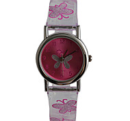 Kids' Fashion Watch Water Resistant / Water Proof Quartz Plastic Band Butterfly Casual Purple Strap Watch