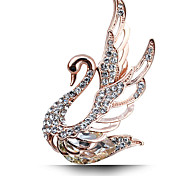 Women's Fashion Swan Crystal Rhinestone Gold Plated Luxury Jewelry Party/Daily Brooches Pins