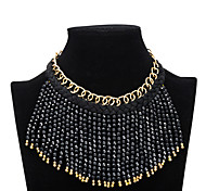 Xu Women 's Exaggerated Fashion National Resin Tassel Hot-style Statement Necklace