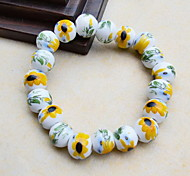 Strand Bracelets 1pc,Yellow Bracelet Vintage Circle 514 Ceramic Jewellery