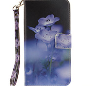Painted Blue Flowers Pattern Card Can Lanyard PU Phone Case For Samsung Galaxy Note 4 5 7