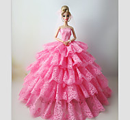 Wedding Dresses For Barbie Doll Pink Lace Dresses For Girl's Doll Toy