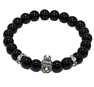 Women Alloy Black Lion Head Strand Bracelets