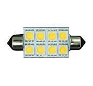 10X Warm White Festoon 42MM 5050 8-SMD 211-2 578 569 Dome Map Interior LED Light