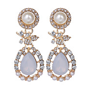 Charm Water Drop Earrings Fashion Jewelry Rhinestone Pearl Dangle Earrings