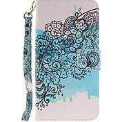 Painted Butterfly Flower Pattern Card Can Lanyard PU Phone Case For Samsung Galaxy Note 4 5 7