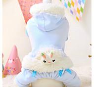Dog Hoodie White / Blue Winter Cartoon Keep Warm, Dog Clothes / Dog Clothing