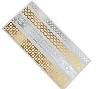 1pc Flash Metallic Waterproof Temporary Tattoo Gold Silver Flower Bracelet Scale Design Tattoo Sticker GM-T003