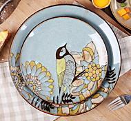 Hand-Painted Ceramic Plate Characteristics of Fish Dish Cutlery Set