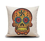 Golden Skull Linen Pillow Cover