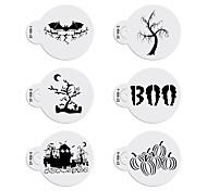 6pcs Halloween Stencils Pattern Cookie Stencil Set Cake Decorating Stencils Fondant Cupcake Design Stencil  ST-915
