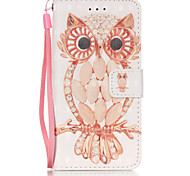 3D Painted Owl Pattern PU Material Phone Case for iPhone iPhone 5/5S/5E/6/6S/6S Plus/6 Plus