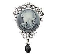 vendimia broche broches joyas de la reina de gota de agua rhinestone de la manera de plata antigua de las mujeres para las mujeres regalo