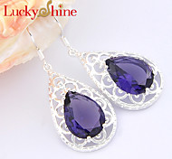 Earring Flower Drop Earrings Jewelry Women Fashion Wedding / Party / Daily / Casual / Sports Crystal 1 pair Silver