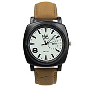 Men's Brown Leather Band White/Black Case with 8 Number Sports Fashion Watch