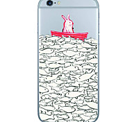 Red Rabbit Pattern  Transparent TPU Material Phone Case for iPhone 6 6S  6 Plus 6S Plus